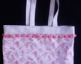 Ballet Tote, Pink Toe Shoes and Stars, Cotton Dance Bag
