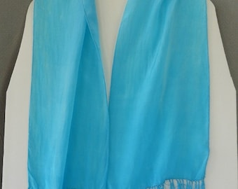 Silk Scarf, Hand Dyed with fringe, Blue Skies