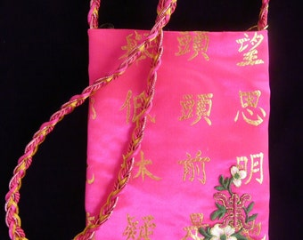 SmartBag, Fuchsia/Gold Kanji, Floral Applique
