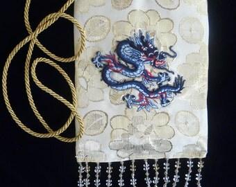 SmartBag, Gold Brocade Dragonbag with Light Blue Dragon