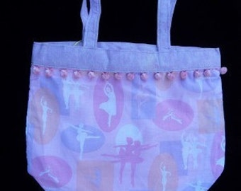 Ballet Tote, Dancer Silhouette, cotton reusable gift bag
