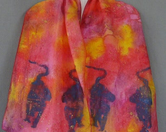 Silk Scarf, Pink/Red/Orange, Handpainted, Sunset Cats