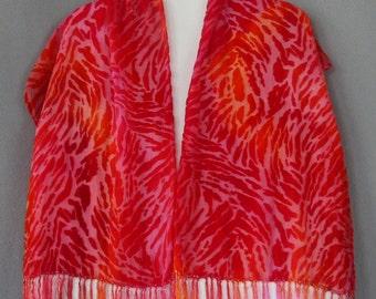 Burnout Velvet Scarf, Hand Dyed, Animal Print, pink, orange, red