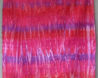 Cotton Sateen, Hand Dyed Yard, Sunset, purple, red, fuchsia