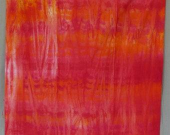 Cotton Sateen Fabric, Hand Dyed, Fire, Orange,  Fuchsia, Red