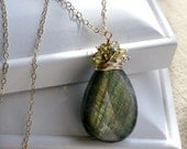 Criss Cross Applesauce - Stunning flashy Labradorite Smooth Briolette Necklace with Sapphires in Gold- SALE Use Coupon 50OFF