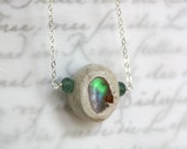 Mexican Cantera Opal and Tourmaline Necklace in Sterling Silver - Flash