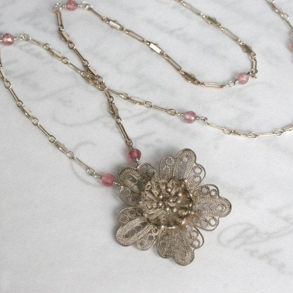 Silver Garden - Sterling Silver Vintage Filigree Flower Necklace with Pink Tourmaline - SALE 50% off