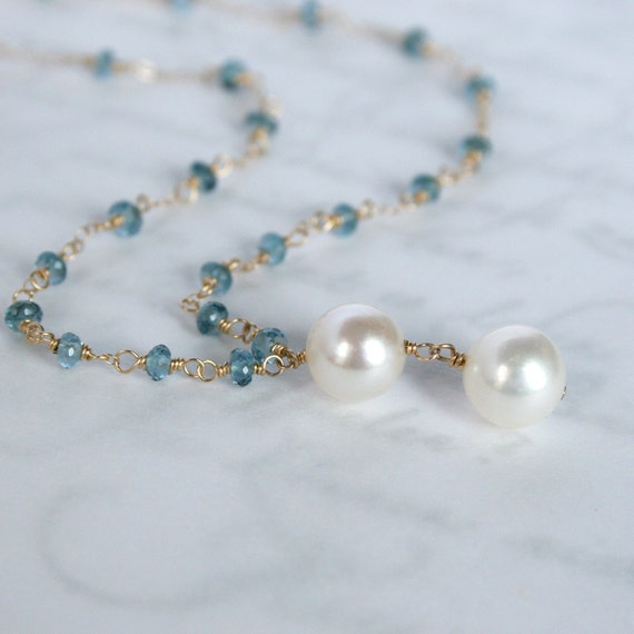 Something Blue - Akoya Pearls and London Blue Topaz Necklace in Solid 14K Yellow Gold