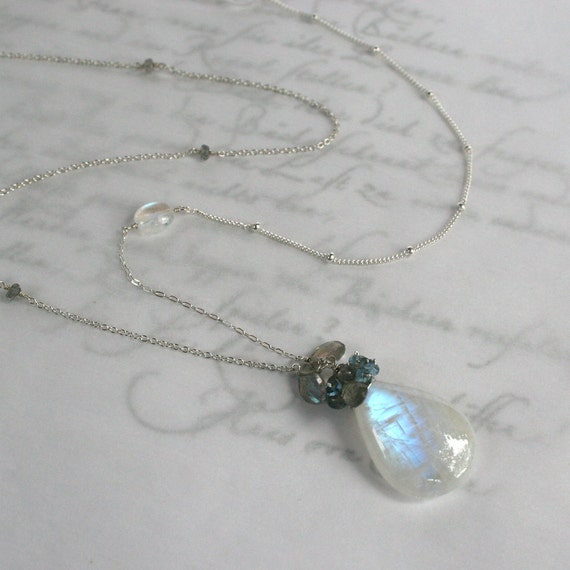 Moon Over Miami - Moonstone, London blue Topaz and Labradorite Necklace in Solid Sterling Silver