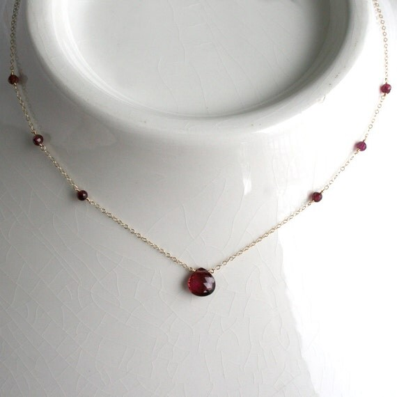 Rubellite Tourmaline Necklace in 14k Solid Gold - SALE 50% OFF