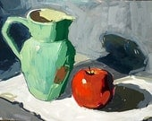 Fine Art Signed Original Still Life Gouache Painting 9 x 12 by Sandra Smith-Dugan Ceramic Pitcher Apple Tablecloth teal turquoise red green