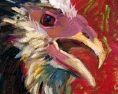 Original Fine Art Original Oil Painting 'Angry Orloff' Expressive Bird Chicken Rooster Smith-Dugan Black Red Pink Blue Brown