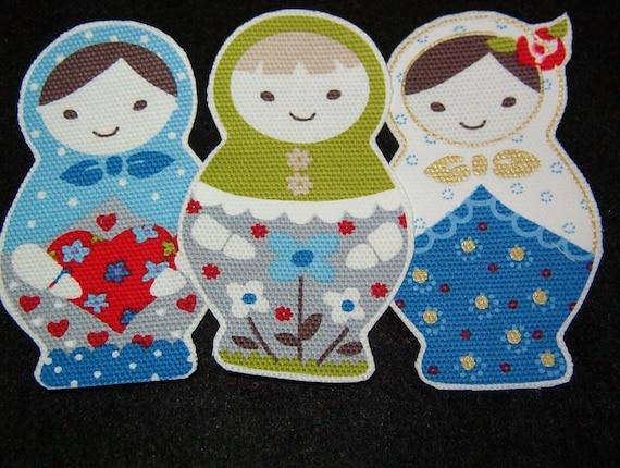 Big beautiful matryoshka russian dolls three no sew iron ons enter to