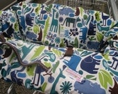 Shopping Cart cover or restaruant high chair cover for boy or girl......2-D ZOO POOL Blue