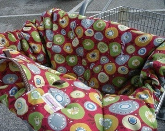 Boutique shopping cart Cover  ....POMEGRANATE FEARLESS CIRCLES Shopping Cart Cover