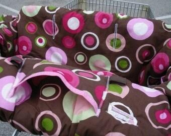 Shopping cart cover for girl Boutique Shopping Cart Cover BROWN with PINK POP Shopping Cart Cover