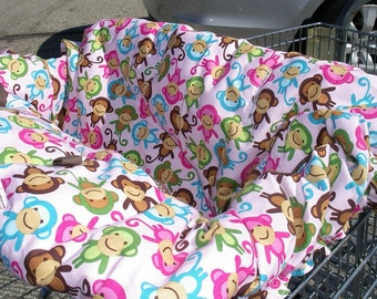 Shopping cart cover for girl  Urban Zoologie Monkeys PINK Shopping Cart Cover
