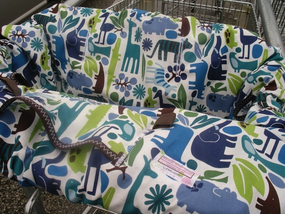Shopping cart cover for boy or girl Shopping Cart cover .......2-D ZOO POOL Blue