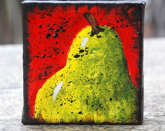 Little Pear original painting 4x4