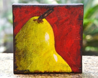 Pear original canvas painting 6x6