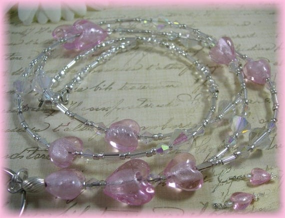 Heartsong - Soft pink Lampwork Hearts, Silver, Swarovski, Beaded Lanyard/ID/Badge/Glasses FREE EARRINGS