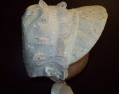 White Embroidered  Baby Bonnet X-Small