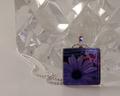 SALE  Purple Daisy Glass Tile Pendant