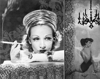 """8""""x10"""" Smoke PinUp Vintage Glam Digital Art Collage Print"""