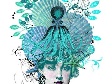 "Digital Art Collage  ""Aliza"" Turquoise/Beach/Shell/Octopus ""Head Cases"" series mermaid sea shell"