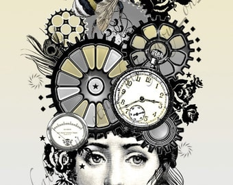 """Steampunk Digital Art Collage  """"Susannah"""" Yellow/Bee/Feather/Gears"""