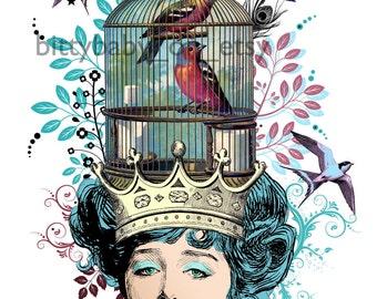 "Digital Art Collage  ""Lynnie Ruth"" Birdcage/Crown/Spring/Summer/Turquoise/Pink"