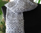 Hand Knit - SILVER GREY TWEED Scarf in Seed and Ridge Stitches