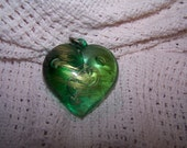 Green and Gold Vintage Glass Heart Pendant