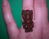Tiki God Ring, Adjustable, Tiki Ring, Tiki, Ring, On sale, Brown tiki ring, pink tiki ring