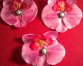 Etsy wedding,Pink,orchid, pearl clip, orchid clip, wedding, bridesmaid, wedding orchid, wedding flower, pink orchid, orchid barrette