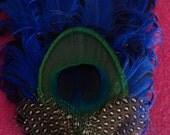 Blue, royal blue, peacock, blue clip, blue fascinator, blue hat clip, blue brooch, blue hat clip, wedding, wedding blue, bridal