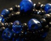 Blue, royal blue, black and blue, blue skull, blue bracelet, skull,skull jewelry, day of the dead, mexican bracelet, dia de los muertos