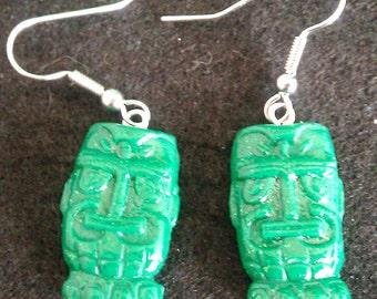 Green glitter tiki earrings, green tiki, tiki earrings