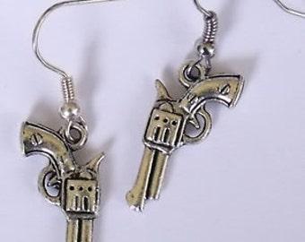 Pistol Earrings, gun, gun earrings, sale,revolver earrings, stocking stuffer, rockabilly, punk, emo