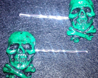 Pirate Jolly Rodger Green skull and crossbones Hair barrettes or bobby pins