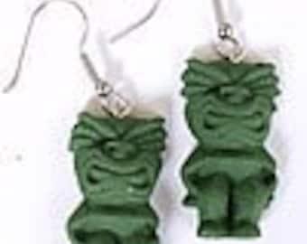 Green tiki earrings tropical tiki oasis tiki god tropical wedding tiki oasis