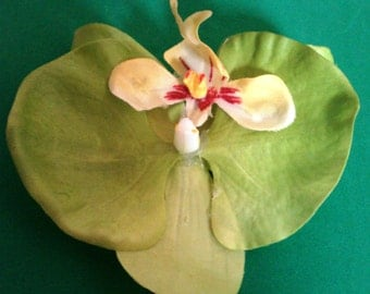 Bright Green Orchid barrette or bobby pin
