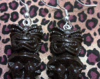 Tiki earrings, brown, brown tiki, tiki culture, hawaii, tiki, polynesian, tiki wedding, ocean, pin up, tropical, beach wedding