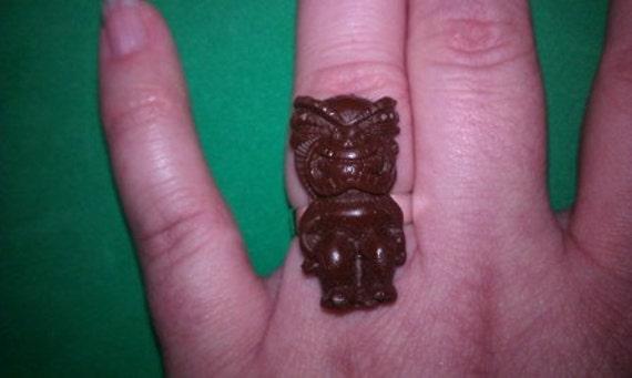 Tiki God Ring, Adjustable, Tiki Ring, Tiki, Ring, On sale, Brown tiki ring, pink tiki ring