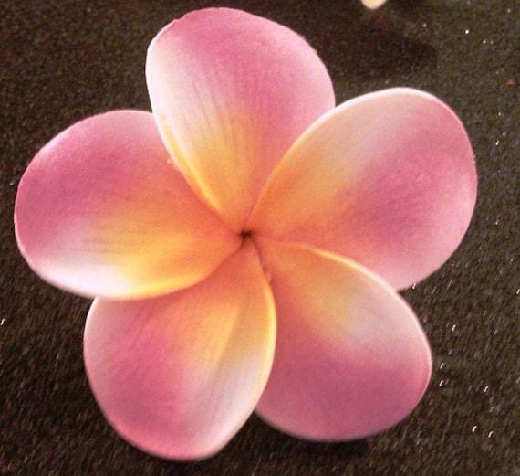 Pink plumeria, hawaiian hair clip, pink flower, pink clip, hawaiian hair flower, plumeria, pink flower clip
