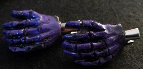 Zombie , purple, Skull, Day of the dead, barrette,zombie barrettes, zombie hands, purple hands, purple hair clip, purple zombie, horror