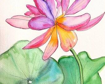 SALE Sumi Style Lotus Flower Original Watercolor Painting from Kauai Hawaii