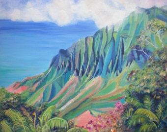 kauai art prints, kalalau valley paintings, 8x10 giclee print, paintings of kauai, hawaiian artwork, kauai art galleries, kauai wall art