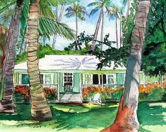 Kauai Plantation Cottage - 8 x 10 Giclee Art Print - Hawaiian Wall Decor - Tropical House Art - Waimea Plantation Cottages - Hawaiian Art